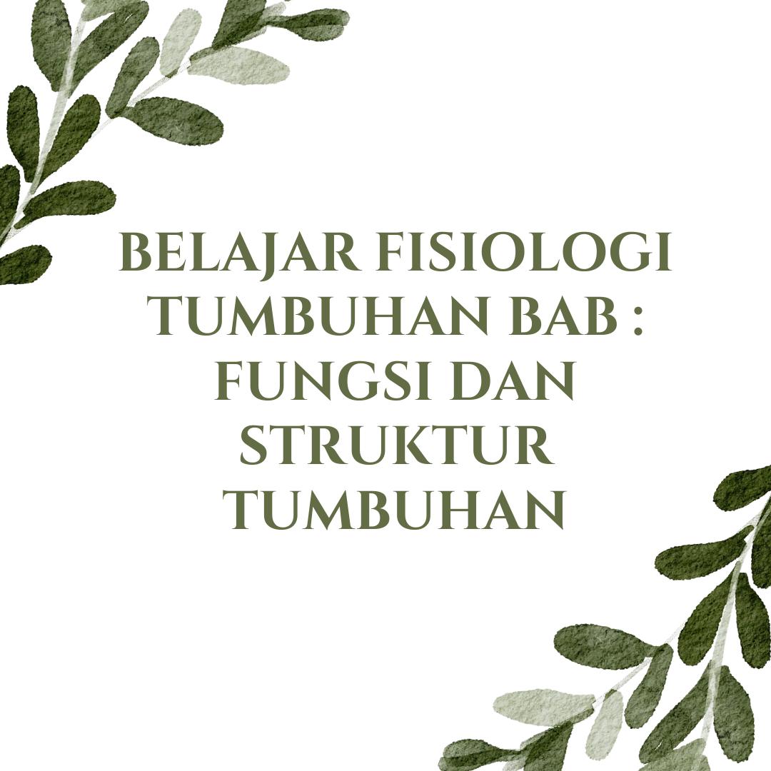Belajar Fisiologi Tumbuhan Bab : Fungsi dan Struktur Tumbuhan